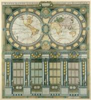 Grande mappemonde céleste, terrestre, historique & cosmographique, dediée au Roi, où sont représentés les differens systêmes du monde