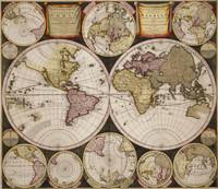 Planisphærium terrestre cum utroque coelesti hemisphærio, sive diversa orbis terraquei