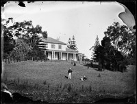 Hawthornden' house, possibly E A Macpherson and children in foreground.