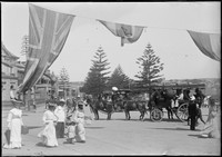 Horse-drawn omnibus to Narrabeen Rock Lily w. beach goers in foreground.