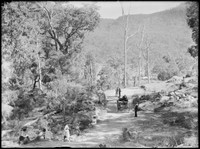 Wide shot of country scene showing dirt road.