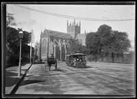 King Street tram in Prince Albert Road looking to St Mary's Cathedral and Hyde Park.