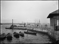 Man O'War Steps, Circular Quay with view to Fort Denison and Sydney Harbour.