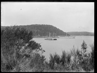 Hulks on moorings: two labelled 'Magazine', 'Danger' & 'Powder Magazine': poss. Powder Hulk Bay west of Seaforth in Middle Harbour.