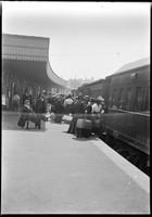 Passengers boarding train at Sydney Terminus, Redfern.