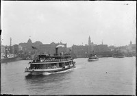 Ferries at Circular Quay w. Goldsborough Mort & Co building & Customs House in background.