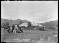 Macpherson family group – three males & one female – posed on stump w. farmhouse and mountains behind, ca. 1890.