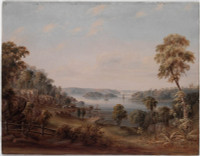 View in Woolloomooloo Bay ... taken from lower Domain Road, 1849