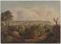 View of part of Wooloomooloo and Mr Barker's house and mills with Bradleys Point, 1844