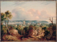 View north from Craigend looking over Woolloomooloo and Port Jackson, 1845