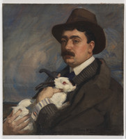 Man with rabbit, ca. 1910
