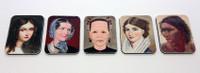 Ladies portraits - set of 5 magnets