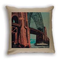 Sydney Harbour Bridge Cushion Cover Natural