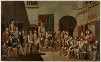 """The mock trial (scene inside Newgate Prison)"", painted in 1812 by Francis Greenway."