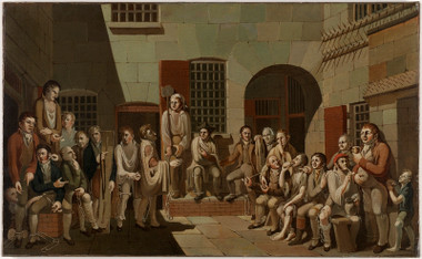 """""""The mock trial (scene inside Newgate Prison)"""", painted in 1812 by Francis Greenway."""