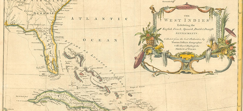 The West Indies Vintage Map Exhibiting The English, French, Spanish & Dutch Settlements