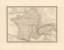 Ancient France Gaule Antique Map Brue 1827