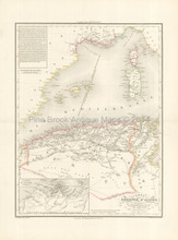 Algeria Tunisia Antique Map Brue 1827
