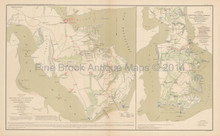 Peninsular Campaign Yorktown Civil War Antique Map 1895