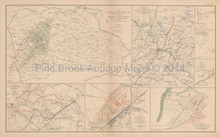 Mine Run Campaign Civil War Antique Map 1895