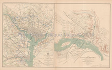 Defenses Of Washington Richmond Civil War Antique Map 1895