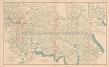Richmond Virginia Peninsular 1864 Civil War Antique Map 1895