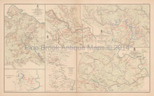 Rapidan To James Chickamauga Civil War Antique Map 1895