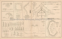 Plans Of Forts Mobile Petersburg Civil War Antique Map 1895