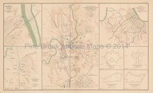 Field Works Bridgeport Stevenson Civil War Antique Map 1895