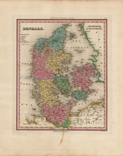 Denmark Antique Map Tanner 1836