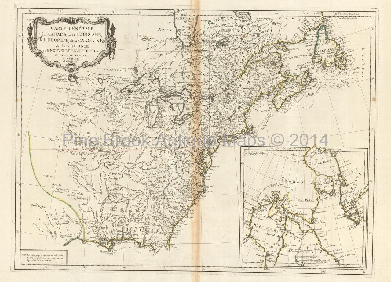Colonial United States Antique Map D Anville 1776 Pine Brook