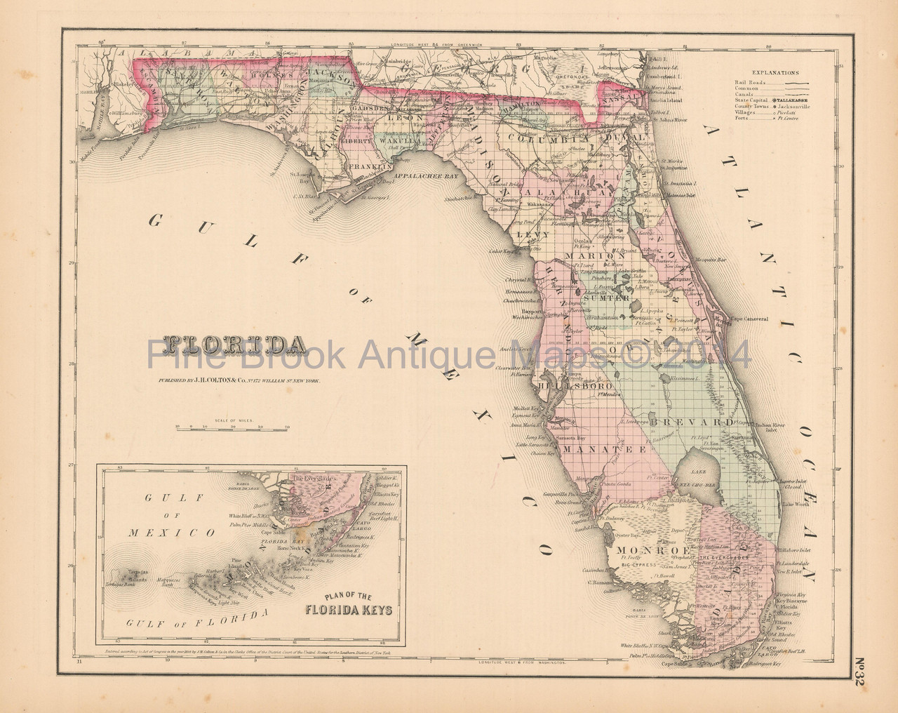Antique Map Of Florida.Florida Antique Map Colton 1858 Pine Brook Antique Maps