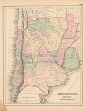 Argentina Chili Antique Map Colton 1858