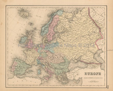 Europe Antique Map Colton 1858