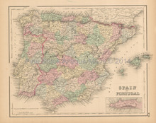 Spain Portugal Antique Map Colton 1858