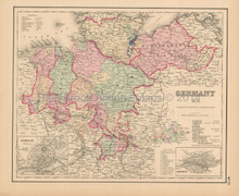 Northern Germany Antique Map Colton 1858