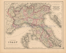 Northern Italy Antique Map Colton 1858
