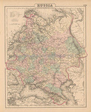 Russia Antique Map Colton 1858