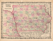 Iowa Nebraska Antique Map Johnson 1861