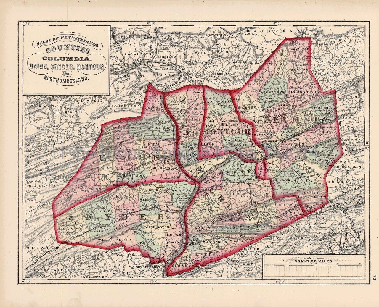 Columbia Union Snyder Montour Northumberland County Pennsylvania Antique on old maps of columbia county, old schools in st. croix county wi, old texas state map,