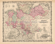 Northern Germany Antique Map Johnson 1861