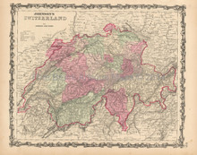 Switzerland Antique Map Johnson 1863