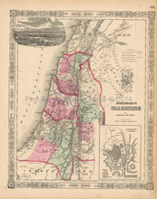 Israel Palestine Antique Map Johnson 1863