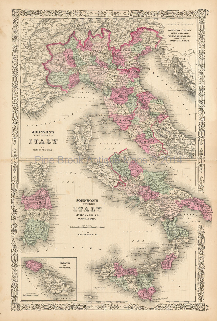Northern And Southern Italy Antique Map Johnson 1863 Pine Brook