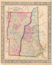 New Hampshire Vermont Antique Map Mitchell 1865