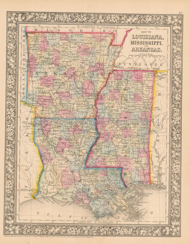 Original Louisiana Mississippi Antique Map Mitchell 1865 For Sale