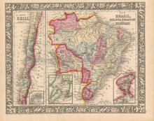 Brazil Chili Bolivia Antique Map Mitchell 1865