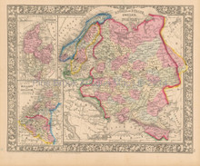 Russia Scandinavia Netherlands Antique Map Mitchell 1865