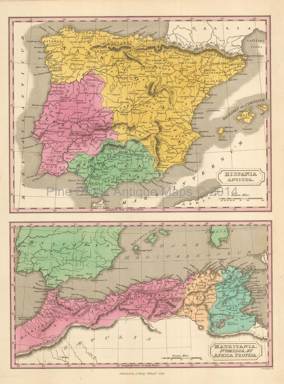 Holiday Map Of Spain.Ancient Spain Antique Map Finley 1831