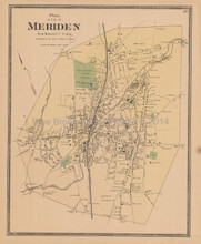 Meriden Connecticut Antique Map Beers 1868